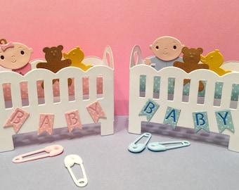 "Baby Crib Card In A Box! Small 3"" Tall Baby Card In A Box! Petite Baby Card! 3-D Baby Card!Baby Pop Up Card! 3-D Baby Crib Card!Folds Flat"