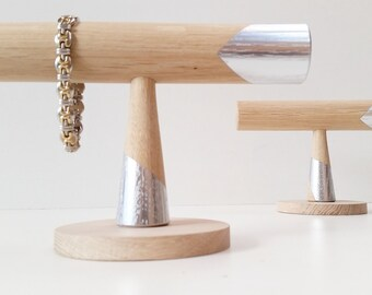 Bracelet stand  Oak-Silver Edition Accesoire Sieraden display Organiser Wedding gift