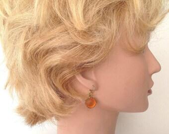 Orange German glass soft glow lacy wire wrapped earrings