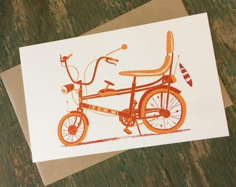 CHOPPER BICYCLE, bicycle card, banana seat, Letterpress print, gift for cyclists, vintage bike, bicycle art, cycling art, gifts for bikers