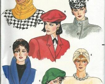 Butterick 4065 Misses Hats Pattern, Hood, Turban, S-M-L Uncut