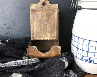 """Vintage 1950s Match Holder/Safe with Embossed """"Matches"""" - Farmhouse Kitchen Decor"""