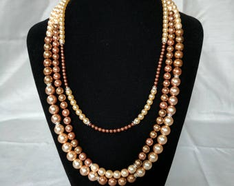Stunning, multi-strand Czech glass pearl necklace.