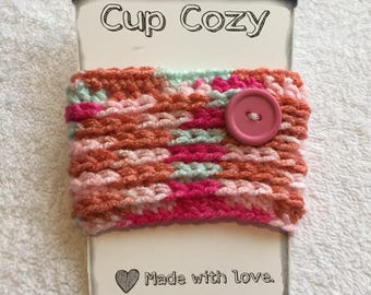 Pink Multi Coffee Cozy