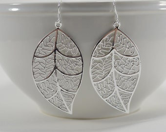 Lightweight Statement Silver Filigree Leaf Earrings - Long Lace Dangle - Statement Jewelry - Nature Boho