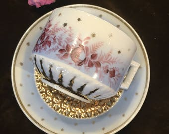 Antique German Mustache Cup and Saucer Handpainted Flowers Golden Beauty!