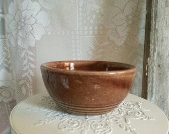 Small Brown Stoneware Bowl