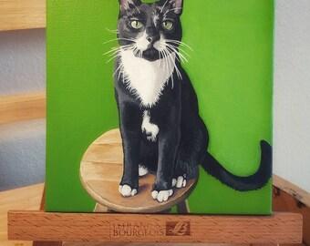 Custom Pet Portrait Painting, Acrylic Painted on 6x6 Canvas, Pet Painting, Cat Portrait Painting, Dog Portrait Painting
