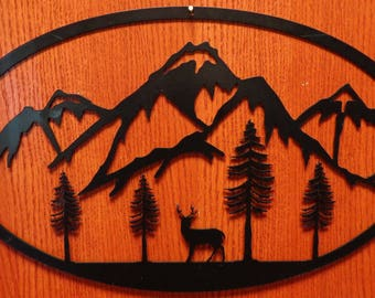 Deer With Mountains Oval Wall Art