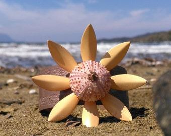 Salmon Sea Urchin Cuff Enamel Vintage Flower Bracelet Statement Jewelry