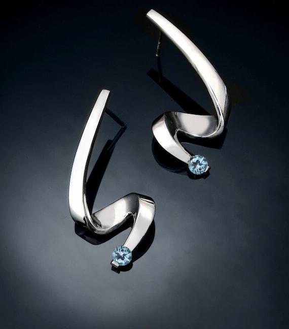 aquamarine earrings, March birthstone, wedding earrings, Argentium silver, fine jewelry, designer jewelry, for her - 2380