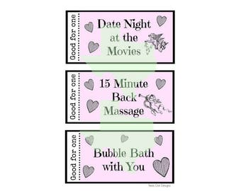 Love Coupon Book (For Her), Valentine's Coupon Book, Anniversary Present, Blank Printable Coupons Instant Download, Last Minute Gift Digital