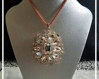 Crystal Medallion Necklace On Rose Gold Chain