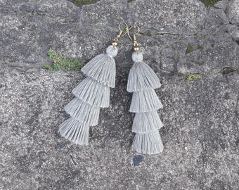 Four Layered Gray Tassel Earrings,Bohemian earrings,Stacked tassels,Hand made earrings,Tassel earrings.