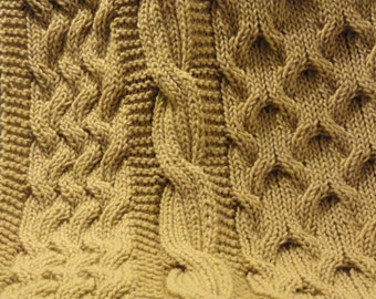 hand knit cable afghan