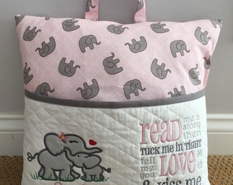 Momma and Baby Elephant Pink and Grey Reading/Pocket Pillow Case w/Embroidered Name