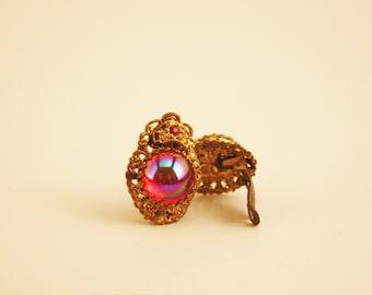 Pink Earrings, Vintage 1940's Clip Earrings, West Germany Jewelry, Antique Earings