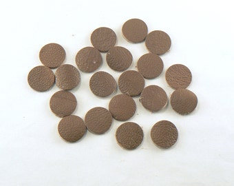 """1/2"""" Nut Brown Leather Circles - 20 Die Cut Leather Circles - Leather Circle Appliques -  Leather Disks - Craft Leather Circles"""