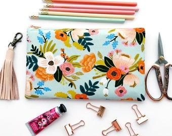 Rifle Paper Co Zipper Pouch, Mint Rifle Paper Pencil Case, Amalfi Floral Pencil Pouch,Cosmetic Bag, Bridesmaid Gift, Aqua Floral Bag