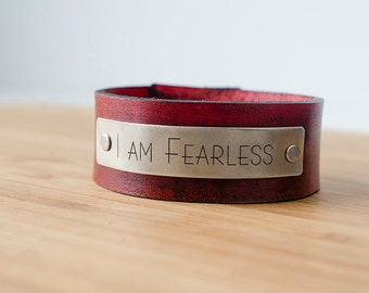 I Am Fearless Custom Text on Wide Distressed Leather Cuff Girl Power Brave Courage Creativity