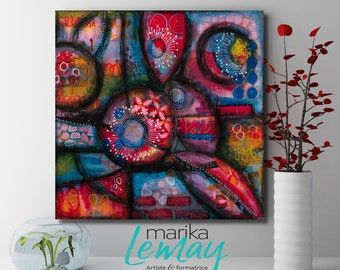 Original floral mixed media artwork by Marika Lemay mixed media artist flowers nature turquoise red
