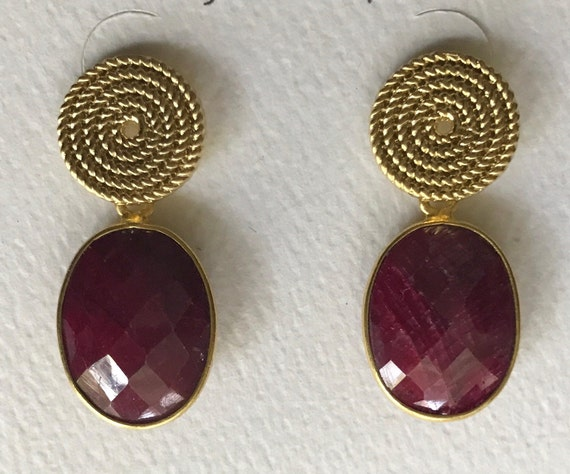"Ruby Earrings, Ruby & Gold Post Earrings, Post Earrings, Gold Plated/Brass,24K Gold Plated Bezel,  925 Sterling Silver Backs, 1.25"" Long"