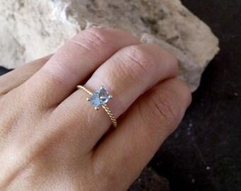 SALE!Thin Ring -  Blue Topaz Ring - December Birthstone Ring - Gemstone Ring - Stacking Ring - Gold Ring - Oval Ring