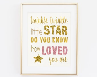 Birthday Printable, Twinkle Twinkle Little Star Do You Know How Loved You Are, Pink and gold, Birthday party, Girl Birthday Decoration Gold