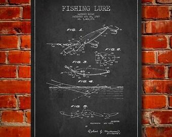 1969 Fishing Lure Patent, Canvas Print, Wall Art, Home Decor, Gift Idea
