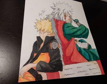 Naruto And Jiraiya Print