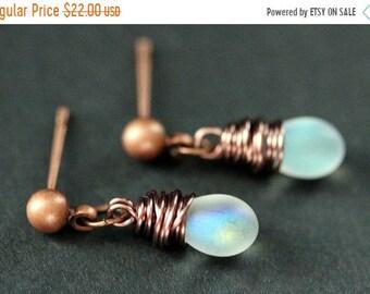 MOTHERS DAY SALE Copper Earrings - Iridescent Frosted White Teardrop Earrings. Dangle Earrings. Stud Earrings. Handmade Jewelry.