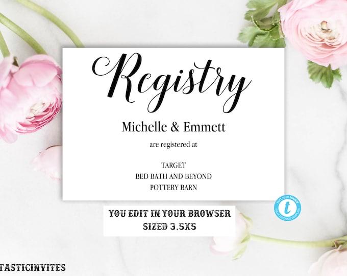 Registry Card, Registry Card Template, Printable Registry Card, Wedding Template, Rustic, Elegant, Simple, Registry Card, DIY, YOU EDIT