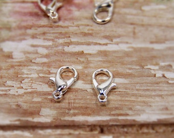 20 pcs - Bright Silver - Lobster Clasps - Jewelry Clasps - Bracelet Clasps - Necklace Clasps - Jewelry Findings - Jewelry Supplies - F0017