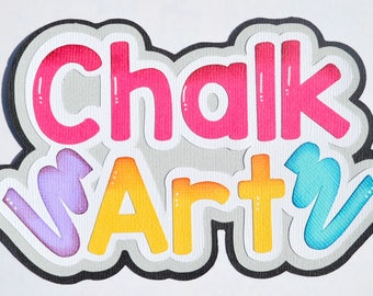 CraftECafe Chalk Art Title for Premade Scrapbook Page Layout, Chalk, Summer, Die Cut, Embellishment
