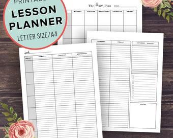 Lesson Planner, Teacher Planner Printable, School Planner, Homeschool lesson plan, High School, Middle, Agenda, Letter Size, A4, Binder