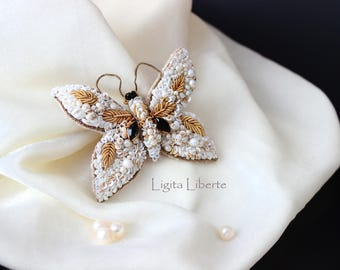 White  gold butterfly, Beautiful gift for Valentines day, unique handmade.