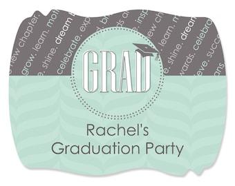 16 Custom Graduation - Con-GRAD-ulations - Mint Graduation Stickers - DIY Graduation Party Supplies
