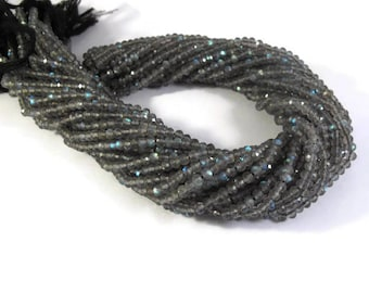 Special Labradorite Beads, Natural Faceted Gemstone Rondelles, 13 Inch Strand, Over 115 Gemstones for Making Jewelry, 3.5mm - 4mm (R-Lab3)