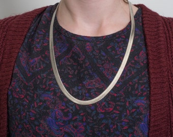 Handmade Vintage Herringbone Sterling Silver Necklace, VJ #701