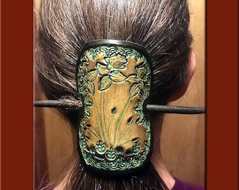 GREEN ROSES Design, Handcrafted, Hand Tooled Leather Hair Barrette