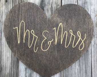 Mr & Mrs - Hand Lettered Decorative Sign — Modern Farmhouse Style, Rustic Home Decor, Heart Shape
