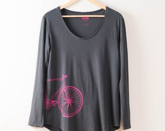 Women's SMALL Fixie Tee, Long Sleeve Bicycle t-shirt