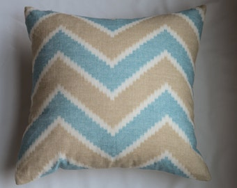 Contemporary Chevron Pillow Cover In Blue and Tan