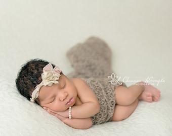 Beige Fishnet Fabric Lace Wrap Newborn Photography Prop