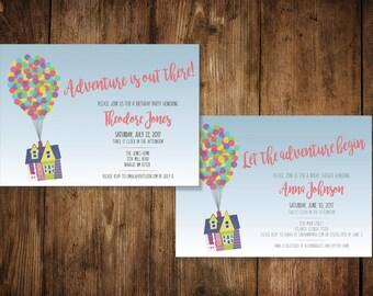 Disney Pixar Up Invitation   DIGITAL FILE   Up Bridal Shower Invitation    Up Birthday Party   Child Birthday   Custom Invitation