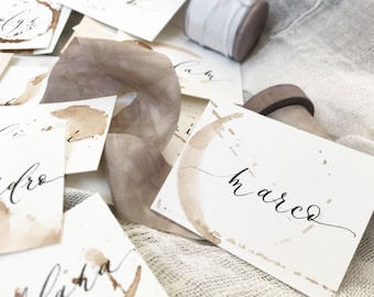 Coffee Stained Watercolor Escort Cards | Place Cards for Wedding or Event | Wedding Decor | Centerpiece | Coffee Lovers | But First Coffee