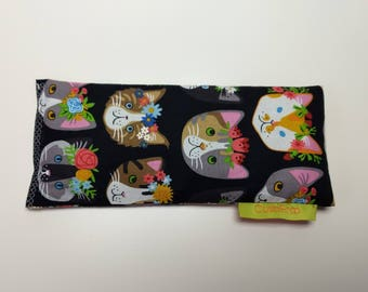 Cute kitty Cooling Eye wrap Soothing Flax Seed filled