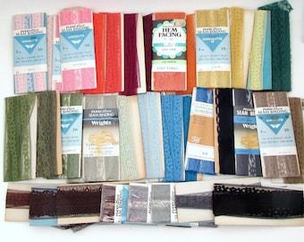 35+ vintage lace lot - seam binding - hem facing - wrights - instant stash - rainbow - grab bag - destash - huge lot - hem tape