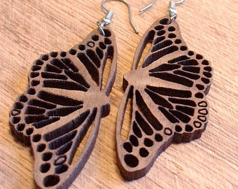 Butterfly filligree wood cut earrings