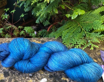 "100grms hand painted merino silk yak lace weight yarn ""teals """